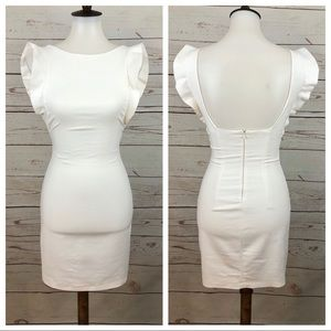 Zara White Ruffle Sleeveless Sheath Tube Dress
